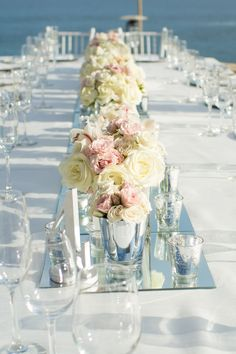 Low Centerpieces With Wall To Mirrors See The Wedding On Smp Http