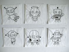 robot party favor reusable coloring pages set of 6. $18.00, via Etsy.