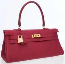 Hermes 42cm Rubis Togo Leather Shoulder Kelly Bag with GoldHardware