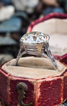 6.55 Carat Transitional Cut Diamond Solitaire Ring Platinum GIA