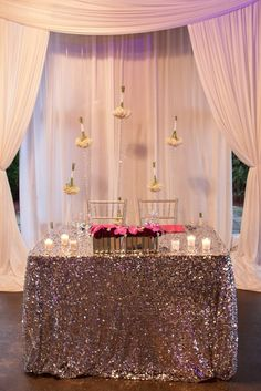 Glamorous pink wedding reception; Featured Photographer: Rob Mould Photography