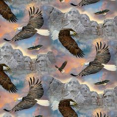 Soaring Over Mount Rushmore Digital, David Textiles Viking Village, Windham Fabrics, Party Shirts, Cotton Quilts, Four Seasons, Fabric Design, Mount Rushmore, Digital Prints, Past