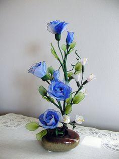 Handmade Vibrant Blue Roses Arrangment by LiYunFlora on Etsy, $30.00