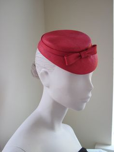 Womens Cocktail Hat Red Straw Bow Wedding Formal by MindYourBonce