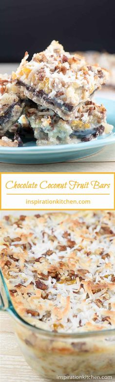 Chewy Chocolate Coconut Fruit Bars Collage | Inspiration Kitchen