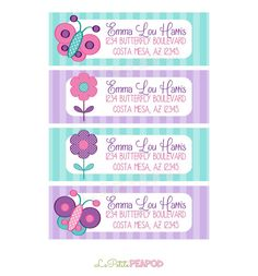 Kids Address Labels - Childrens Stationary - 12 Address Labels  Sweet Pink Purple and by LePetitePeaPod on Etsy