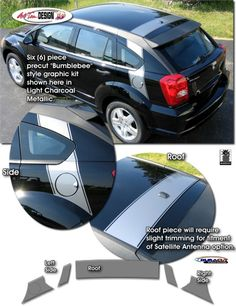 Vehicle specific graphic kits for Dodge Caliber that are Precut and ready to install.