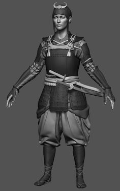 Inspired by all the samurai themed games during (especially Sekiro) i decided to make my own. Zbrush Models, 3d Models, Samurai Armor, Arm Armor, Female Character Design, Game Character, Zbrush Tutorial, Digital Sculpting, Hero Costumes