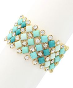 Another great find on #zulily! Gold & Turquoise Rhinestone Stretch Bracelet #zulilyfinds