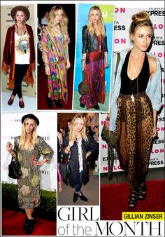 Gillian Zinser - Easy breezy fashion. - Far right picture = denim shirt, tight skinny top, messy hair and baggy trousers (not jeans). Also, floaty skirt, simple black vest and leather jacket. Team with floaty, fluffy hair. :)