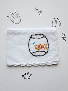 Animal Goldfish Hand Embroidered Gift Handkerchief – wrenbirdarts $20