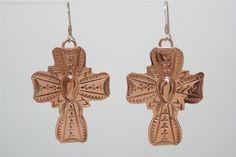 Copper High Gloss Cross Earrings Native American Indian Navajo Running Bear