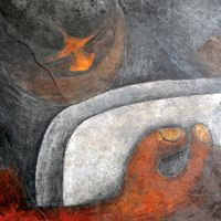 Rufino Tamayo (August 26, 1899 – June 24, 1991) was a Mexican painter of Zapotec heritage, born in Oaxaca de Juárez, Mexico.[1][2] Tamayo was active in the mid-20th century in Mexico and New York, painting figurative abstraction[3][4] with surrealist influences.