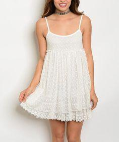 Off-White Lace-Overlay Spaghetti-Strap Empire Waist Dress