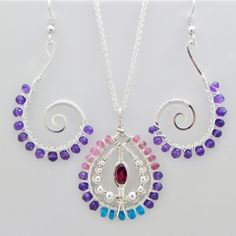 Garnet Apatite Tourmaline Amethyst Pendant Earrings Set Silver handmade fair trade USA Bazaars R Us
