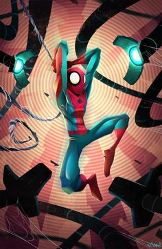 Spidey by *frogbillgo on deviantART. Uh oh, Spidey's in trouble, something's come along and has burst his bubble.