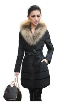 4HOW Women's Faux Fur Lined Coats Winter Parkas Hooded Outerwear Army Green US Size 6