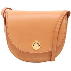 Mansur Gavriel Women Mini Leather Saddle Bag (£620) ❤ liked on Polyvore featuring bags, handbags, shoulder bags, camel, saddle bags, genuine leather shoulder bag, red leather purse, leather shoulder handbags and camel leather handbag