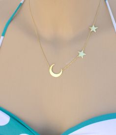 Moon and Star Necklace-Crescent and by HelloSprings on Etsy