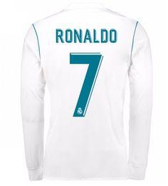 Real Madrid Home Ronaldo Long Sleeved Shirt Soccer Jersey - Cheap Football Shirts Store Cristiano Ronaldo Shirt, Real Madrid Cristiano Ronaldo, Ronaldo Jersey, Real Madrid Jersey 2017, Real Madrid Shirt, Real Madrid Soccer, Neymar, Messi, Ac Milan Shirt