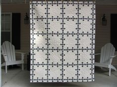 Quilt, nine patch blue and white, traditional