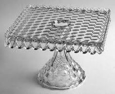 Fostoria square glass cake plate