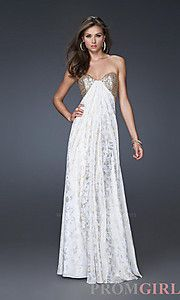 Strapless White & Gold La Femme Dress. This will be my prom dress!