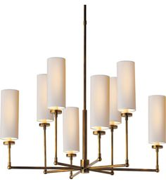 Visual Comfort TOB5016HAB-NP Thomas OBrien Ziyi 8 Light 34 inch Hand-Rubbed Antique Brass Chandelier Ceiling Light