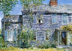 """East Hampton, L.I.,"" (also known as ""Old Mumford House""), Frederick Childe Hassam, 1919, oil on canvas, 21.38 x 30"", New Britain Museum of American Art."
