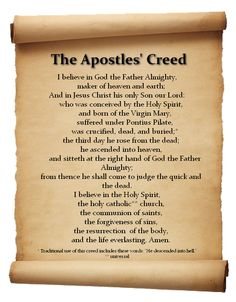 "The Apostles' Creed, sometimes titled Symbol of the Apostles, is an early statement of Christian belief, a creed or ""symbol"". Daily Prayer, My Prayer, Prayer Verses, Bible Scriptures, Bible Quotes, Apostles Creed, Churches Of Christ, Catholic Prayers, Believe In God"