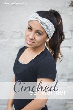 Cinched Ear Warmer Headband Crochet Pattern (Free Pattern!) | By Little Monkeys Crochet