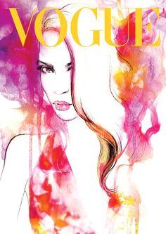 Vogue de la couverture de Magazine aquarelle mode par PrintArtworks