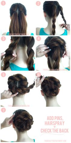 Start with pony tails, rope braid them, and then twist it all in. Hairspray it and add pins if necessary. Mariah:)