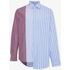 Marni Stripe Panel Asymmetric Shirt ($565) ❤ liked on Polyvore featuring men's fashion, men's clothing, men's shirts, men's casual shirts, blue, mens blue shirt, mens striped shirt, mens panel shirts and mens asymmetrical shirt