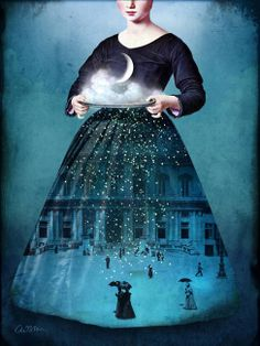 """This art piece titled """"Frau Holle"""" is totally digital. The artist, Catrin Welz-Stein, is a German graphic designer who uses vintage photographs, and other old illustrations to create her work. Vintage Collage, Vintage Photos, Vintage Photographs, Digital Painter, Digital Art, Digital Collage, Wassily Kandinsky, Art Design, Graphic Design"""
