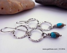 Sterling Hoops and Turquoise Drop Earrings