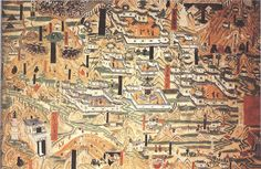 Description   A mural painting from Cave 61 at the Mogao Caves, Dunhuang, Gansu province, China, dated to the 10th century and depicting Tang Dynasty monastic architecture from Mount Wutai, Shanxi province. Date 10th century Source Scanned from Patricia Ebrey's Cambridge Illustrated History of China (1999)