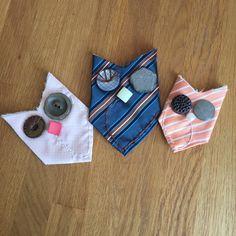 Kreativ im Büro: Eulen aus alten Krawatten und Knöpfen