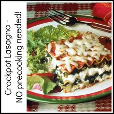 Crockpot Lasagna, no precooking required