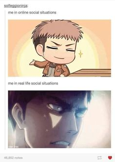 """""""The online me is cooler."""" // Online vs. Reality // Jean Kristchein // Attack On Titan"""