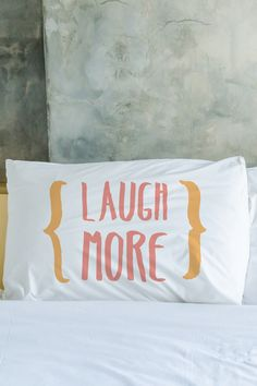 One Bella Casa | Laugh More Worry Less Pillow Case - Set of 2 | Sponsored by Nordstrom Rack.