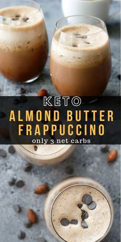 Keto Almond Butter Frappuccino This Almond Butter Frappuccino is packed with strong coffee, almond milk and rich almond butter! The easiest keto frappuccino you will make all summer! Only 3 net carbs per serving! Almond Butter Keto, Almond Butter Smoothie, Almond Milk Smoothies, Vanilla Smoothie, Yummy Smoothie Recipes, Yummy Drinks, Healthy Drinks, Drink Recipes, Fondue Recipes