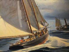 Detail of Rivals II Gloucesterman by American Thomas Maclay Hoyne 1924-1989
