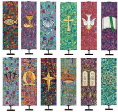 Religious Banners for Praise and Worship We already have two of these beautiful church symbols banne Altar Design, Church Design, Christian Symbols, Christian Art, Religious Symbols, Religious Art, Church Banners Designs, Holy Art, Jesus E Maria