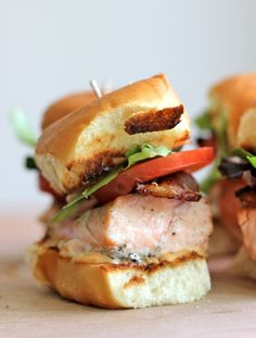 Salmon BLT Sliders with Chipotle Mayo - Loaded sliders with baked salmon and crisp bacon smothered in chipotle mayo, perfect for game day!