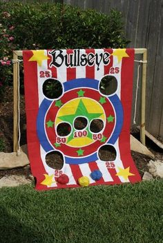 Bullseye's Bean Bag Toss Toy Story party game. This link has 31 photos of a Woody & Jessie focused Toy Story party. It includes some great ideas.