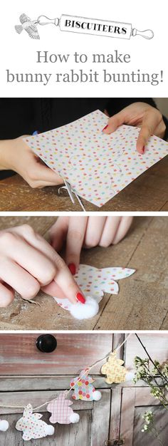 Follow our easy step by step tutorial below to learn how to make your own kitsch rabbit bunting.