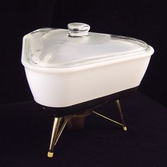 Vintage 1950s Triangular White Milk Glass Casserole Lidded With Warming Stand Eames Era Serving Dish