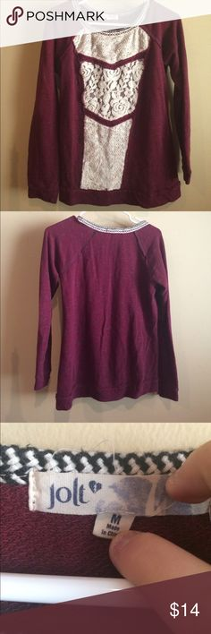 Maroon and lace long sleeve top In amazing condition! Looks great with some skinny jeans and ankle boots Jolt Tops Tees - Long Sleeve