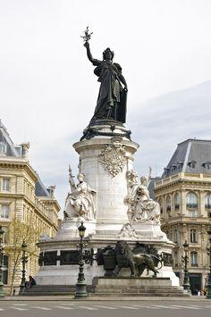 The Statue of Republic by Léopold Morice (1880), on the Place de la République, Paris